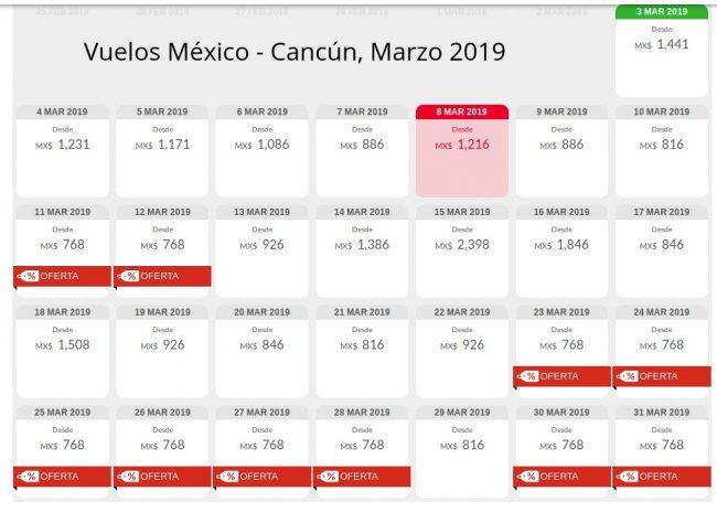 Vuelos México Cancún Marzo 2019